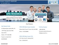 Epic research daily equity report 26 december 2016