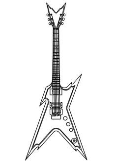 how to draw a dean razorback electric guitar step 2