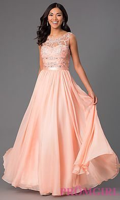 Long Sleeveless Prom Dress with Jewel Detailing at PromGirl.com
