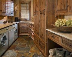 Slate floor in laundry room -- needs darker grout instead of white.