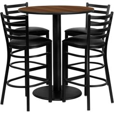 Flash Furniture 36-inch Round Walnut Laminate Table Set with Four ($510) ❤ liked on Polyvore featuring home, furniture, tables, dining tables, black, circular dining table, black round kitchen table, round bar table, black round table and round counter height table