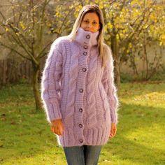 Hand Knit Mohair Cardigan Turtleneck Light Lilac by EXTRAVAGANTZA