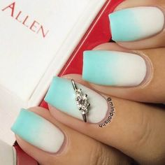She's got us thinking of clear blue skies on a bright and happy wedding day. Preen Me nail artist Karen's sponge technique makes for a beautiful tiffany blue and white combination. Her gifted Nail Jewel from www.JamesAllen.com is the perfect accent. #PutARingOnIt