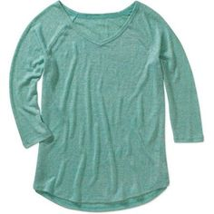 Faded Glory Women's Long Sleeve V-Neck Hacci T-Shirt, Size: 2XL, Blue