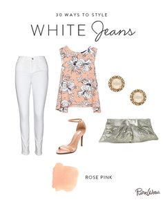 Fact: White jeans are perfect for date night. Just keep the color palette feminine and cohesive. A pastel top pairs best with nude heels. Punch it up with a shiny clutch and sparkly studs.