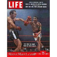 Sugar Ray Robinson Meets Carmen Basilio LIFE Magazine May 1958 Vintage Boxing Sugar Ray Robinson, Time Magazine, Magazine Covers, Boxing History, Life Cover, Sports Figures, Fight Club, Photojournalism, Vintage Ads