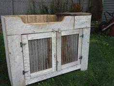 Chippy white barnwood dry sink