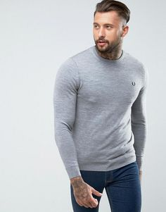 Fred Perry Merino Crew Neck Sweater in Light Gray - Gray