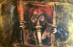 """""""Anxiety"""" 2015 Pirografia e acrilici su legno 60x40"""
