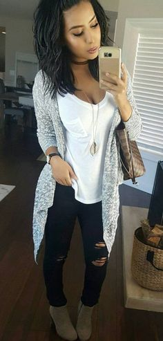 #winter #outfits white v-neck t-shirt and black distressed jeans