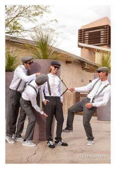 Outdoor Weddings; Las Vegas Wedding Photographer; Steven Joseph Photography; Groom; Groomsmen; Goofing around