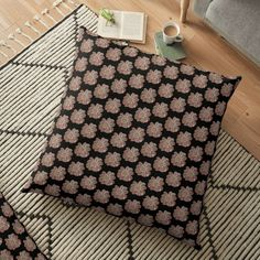 'Contour Flower Design' Floor Pillow by iouryRB