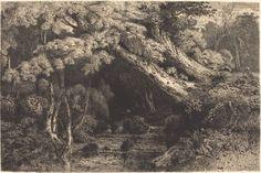 From National Gallery of Art, Washington, D.C., Paul Huet, Saint-Pierre Stream near Pierrefond (Ruisseaude Saint-Pierre, pres Pierrefond) (1842), Etching