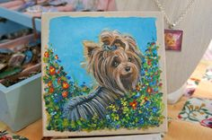 Hand Painted Yorkie Yorkshire Terrier by ladyjanesposinparlor