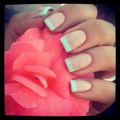 Mint Tips. @Christina Childress Childress Childress Childress & Germain -- I think this would look so cute on your toes :)