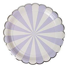"Plates | Meri Meri | Toot Sweet | Lavender & White Stripe Large Plates 9"" | Paper Plates | Party Plates | Party Supplies | The Party Darling by ThePartyDarlingLLC on Etsy"