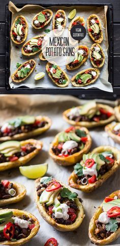 Crispy potato skins filled with delicious mexican filling make a great lunch, dinner or post-exercise recovery meal. Easy and quick to make, naturally vegan and glutenfree too dinner party Mexican potato skins - Lazy Cat Kitchen Mexican Food Recipes, Whole Food Recipes, Vegetarian Recipes, Cooking Recipes, Healthy Recipes, Protein Recipes, Healthy Sweets, Lunch Recipes, Vegetarian Canapes