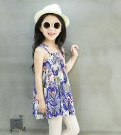 H Blue Printed Dress For Girl @Looksgud.in #H #Blue #Dress