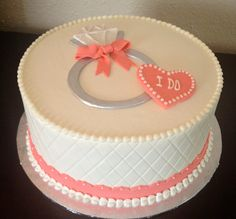 Anniversary - Buttercream with fondant accents.  Engagement Cake