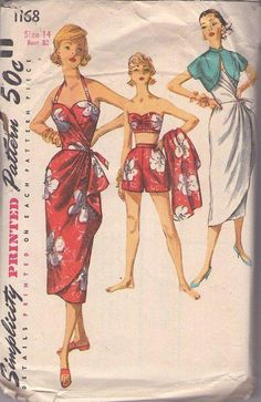 MOMSPatterns Vintage Sewing Patterns - Simplicity 1168 Vintage 50's Sewing Pattern AMAZING Hard to Find Rockabilly VLV Pinup QUEEN Halter Top Sarong Sun Dress, Bandeau Bra Top, High Waisted Shorts, Cropped Bolero Jacket Size 14