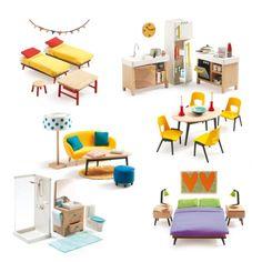 Mobilier pour 6 pièces de maison de poupées Djeco pour enfant de 4 ans à 10 ans - Oxybul éveil et jeux