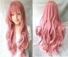 Fashion Women Long Full Curly Wavy Pink Hair Anime Cosplay Party Wigs Xmas