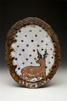 Arthur Halvorsen, Deer Platter, 2013 : Earthenware, Slip, Underglaze, Commercial Glaze, Glaze