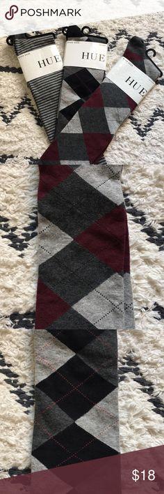 Hue Knee Socks 3 pairs of hue knee socks! 2 are argyle, one Striped! Brand new HUE Accessories Hosiery & Socks