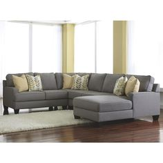 Signature Design by Ashley Chamberly 4-Piece Sectional with Right Hand Facing Chaise in Alloy
