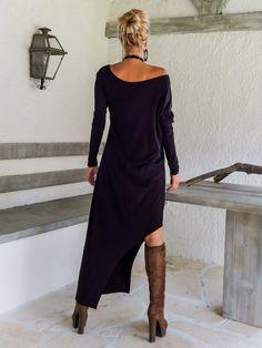 Black Maxi Long Sleeve Dress / Black Kaftan / Asymmetric Plus Size Dress / Oversize Loose Dress / #35034