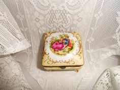 Porcelain Boudoir Jewelry Box-Trinket Casket-Vanity-Dresser Treasure Keeper-Legs-Hinged Lid-Courting Couple-Romance-Orphaned Treasure-020117 by OrphanedTreasure on Etsy