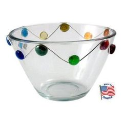 """Crystal Creations 1 qt. Glass Serving Bowl. Showcase salad, fruits and even candy. This glass bowl is embellished with glass stones and sterling silver/lead free wire. Dishwasher safe, made in the USA. Size: 1 quart 6"""" dia."""