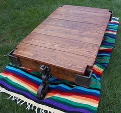 Antique Lineberry Factory Cart Coffee Table Railroad industrial