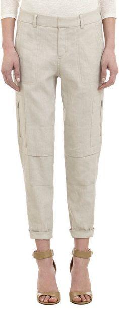 $295 VINCE Linen Blend Cargo  Pant Grain Beige Sz 6 NWOT (2072) #Vince #Cargo