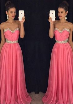 2016 Sweetheart Pink Evening Dresses Long Elegant Strapless Chiffon Prom Dress Robe De Soiree Formal Gowns