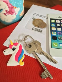 Unicorn Head Silicone Rubber Keyring