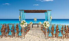 Beautiful Aqua & Wood Beach Wedding at the Secrets Capri in Riviera Maya