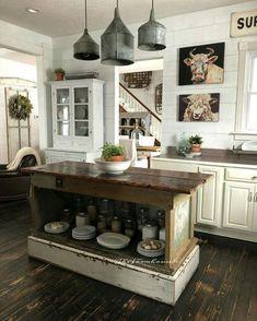 Farmhouse kitchen. Old  metal lights.