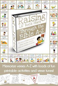 Raising Lil Rock Stars Through the Bible A to Z ~ Bible Verse Printables