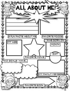 A great first day of school activity. Students fill out the worksheet so you can get to know about them. They can present it to the class, and then hang it up for all to see. There are two versions in the file. First Day Of School Activities, 1st Day Of School, Beginning Of The School Year, Classroom Displays, Classroom Themes, Classroom Activities, Superhero School Theme, School Themes, School Counseling