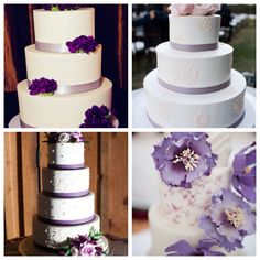 I like the upper left hand corner one.  I actually really like the color scheme: silver/gray ribbon, with just a few purple flowers used for decoration.