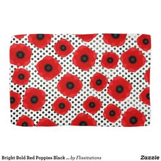 Shop Bright Bold Red Poppies Black and White Polka Dot Towel created by Flissitations.