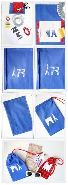 DIY Paris travel bags - Parijse reiszakjes #tasje #eiffeltoren. Kijk op www.101woonideeen.nl