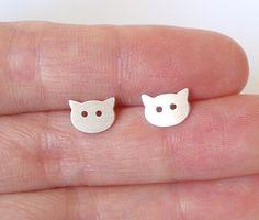 little cat earring studs in sterling silver handmade by huiyitan, £27.00