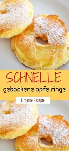 Fast baked apple rings- Schnelle gebackene apfelringe Ingredients for 2 servings 2 pcs of apples (large, shortcrusted) Ingredients for the dough 250 g flour 1 pinch of salt 200 ml milk 2 pcs eggs - Easy Smoothie Recipes, Easy Cookie Recipes, Cupcake Recipes, Dessert Recipes, Healthy Desserts, Pudding Desserts, Easy Vanilla Cake Recipe, Bon Dessert, Baked Apples