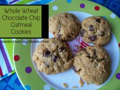 Whole Wheat Chocolate Chip Oatmeal Cookies - Money Saving Mom ... makes 40 cookies.  We baked 16 & froze the rest for another time.  nlb