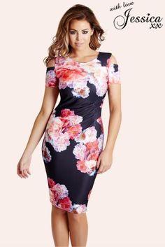 52b196562c854 Jessica Wright Floral Print Cold Shoulder Bodycon Dress Jessica Wright