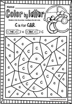 ALPHABET - COLOR BY CODE - SINGLE LETTER PRACTICE Kindergarten Colors, Teaching Kindergarten, Teaching Kids, Kids Learning, Learning Spanish, Teaching Resources, Preschool Learning Activities, Alphabet Activities, Preschool Worksheets