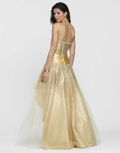 Clarisse Style 2114 Gold High-low Prom Dress