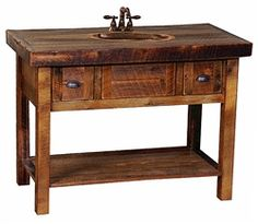 Open Oak Barnwood Vanity w/ Drawers
